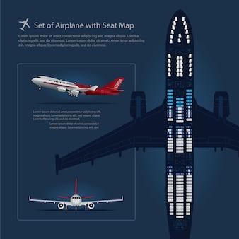 Conjunto de avião com ilustração de vetor isolado de mapa de assento