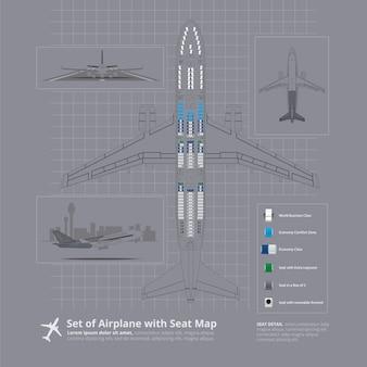 Conjunto de avião com ilustração isolada de mapa de assento