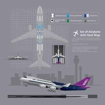 Conjunto de avião com ilustração isolada do mapa do assento