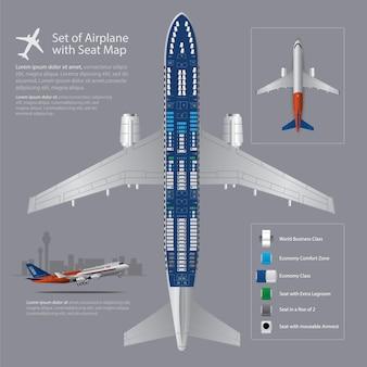Conjunto de avião com ilustração isolado de mapa de assento