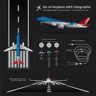 Conjunto de avião com infográfico isolado de ilustração vetorial