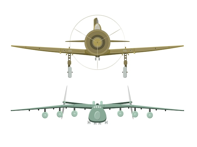 Conjunto de avião em branco em vista frontal
