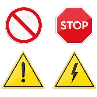 Conjunto de aviso e sinais proibitivos.
