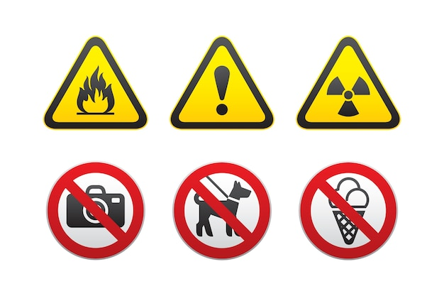Conjunto de avisos de perigo e sinais proibidos