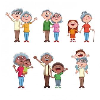 Conjunto de avós com crianças
