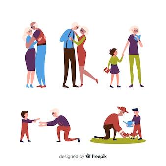 Conjunto de avós fazendo coisas