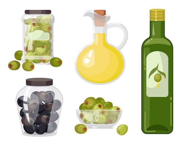 Conjunto de azeitonas orgânicas, azeitonas verdes e pretas em frascos de vidro, azeite em garrafa ou jarro, frutos gregos maduros e produto da cozinha mediterrânica extra virgem, alimento natural isolado. ilustração vetorial