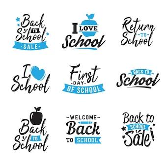 Conjunto de azul volta para tipografia de escola
