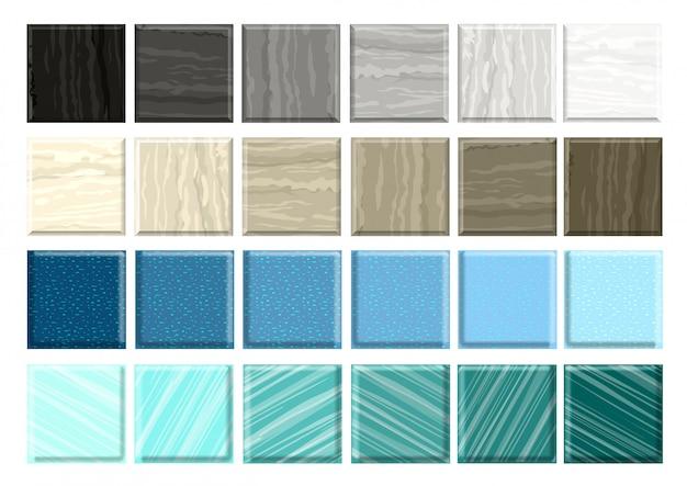 Conjunto de azulejos de mármore diferentes