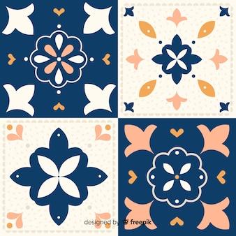 Conjunto de azulejos em design plano