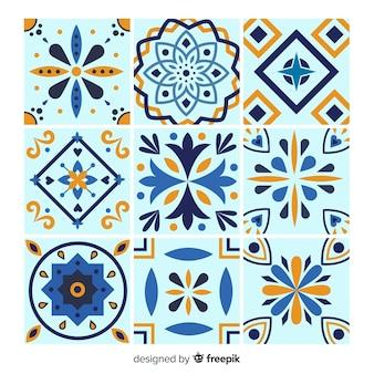 Conjunto de azulejos em tons azuis