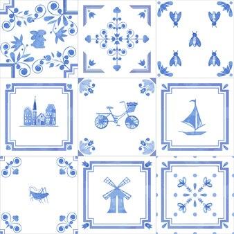 Conjunto de azulejos vintage mão desenhada