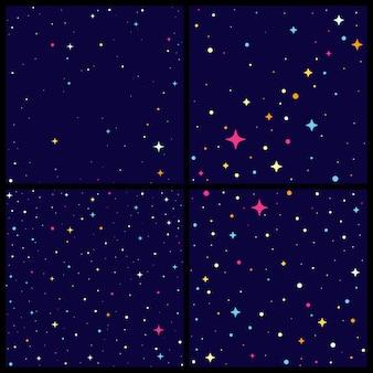 Conjunto de backround de céu noturno com estrelas brilhantes.
