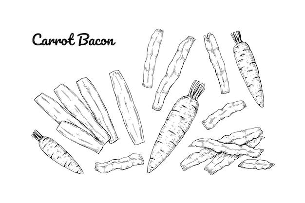 Conjunto de bacon de cenoura desenhado à mão