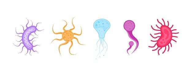 Conjunto de bactérias e germes ícone de microrganismos bactérias e microrganismos alérgenos vector