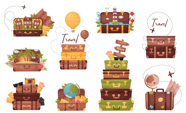 Conjunto de bagagem com os atributos do viajante.
