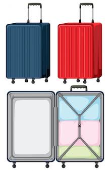Conjunto de bagagem no fundo branco