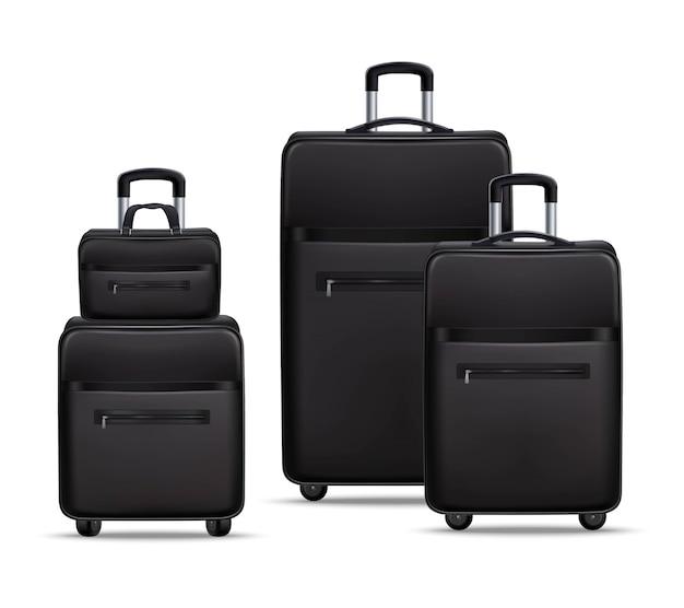 Conjunto de bagagem realista de viagens de negócios preto