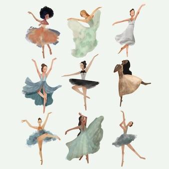 Conjunto de bailarinos - mão desenhada