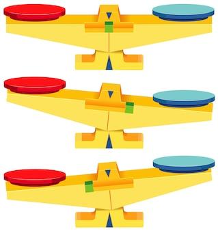 Conjunto de balanças vazias isoladas no fundo branco
