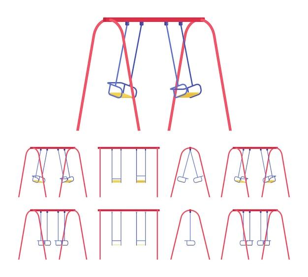 Conjunto de balanços para uso em parque ou jardim