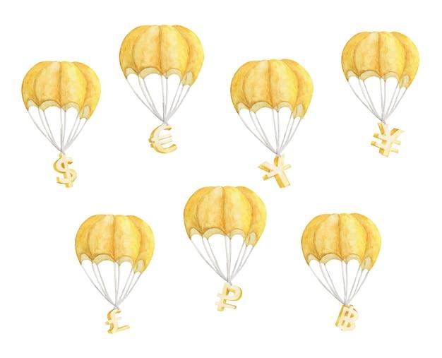Conjunto de balão de ar quente com símbolos de moeda isolados no branco