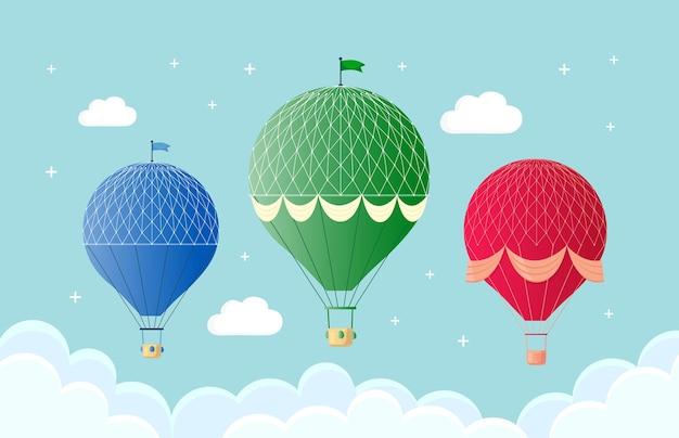 Conjunto de balão de ar quente retrô vintage com cesta no céu isolado no fundo. desenho de desenho animado