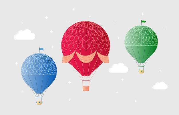 Conjunto de balão de ar quente retrô vintage com cesta no céu
