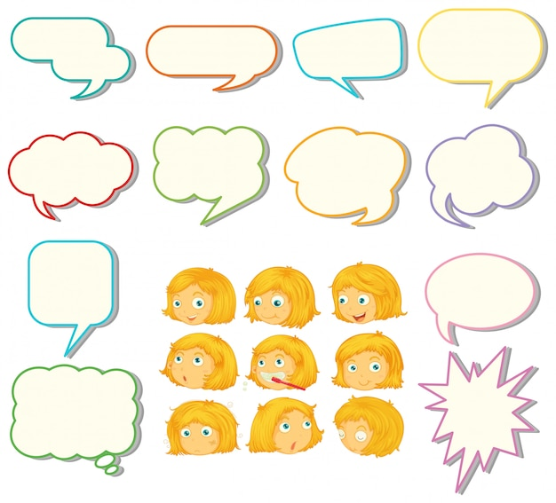 Conjunto de balão de fala e expressão de menina