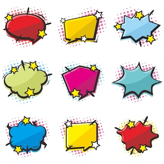 Conjunto de balão de fala em quadrinhos