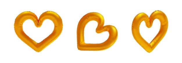Conjunto de balão de folha em forma de coração de ouro realista isolado