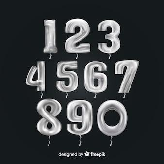 Conjunto de balão de números de prata