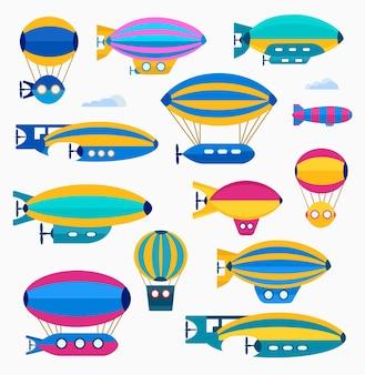 Conjunto de balão fofo colorido, balão e dirigível. ilustração colorida de um conjunto de aeronaves e recursos aeronáuticos em um estilo simples.