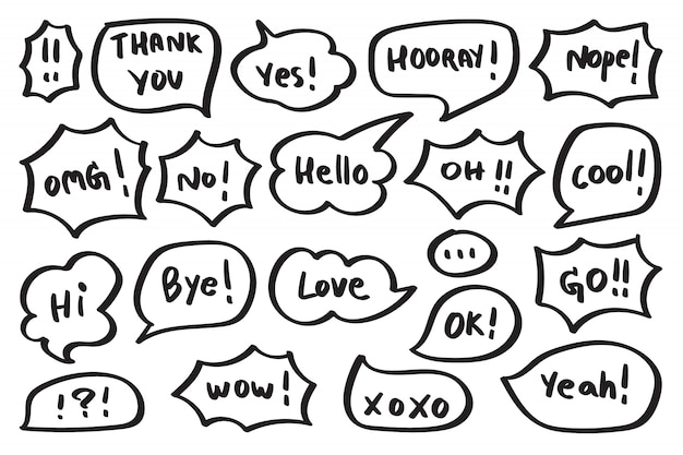 Conjunto de balão fofo com texto em estilo doodle