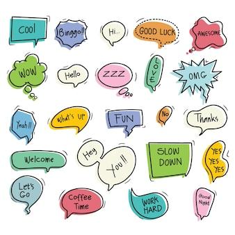 Conjunto de balão fofo desenhado à mão com texto