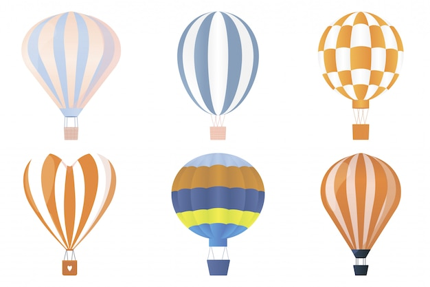 Conjunto de balão plana de ar quente.