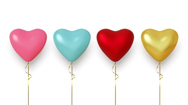 Conjunto de balão realista colorido isolado no branco