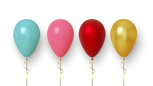 Conjunto de balão realista colorido isolado