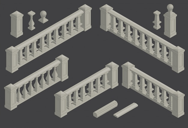 Conjunto de balaustrada de elemento arquitectónico, vetor