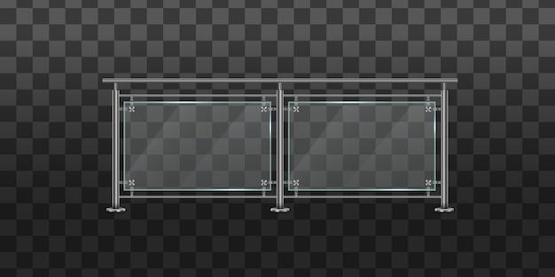 Conjunto de balaustrada de vidro com corrimãos de metal. corrimão ou seções de vedação com pilares de aço. seção de cercas de vidro com trilhos tubulares de metal e folhas transparentes para escadas domésticas, varanda da casa.