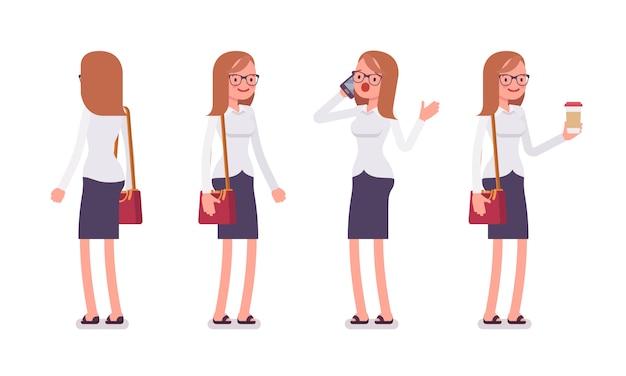 Conjunto de balconista feminina em poses de pé, traseira, vista frontal