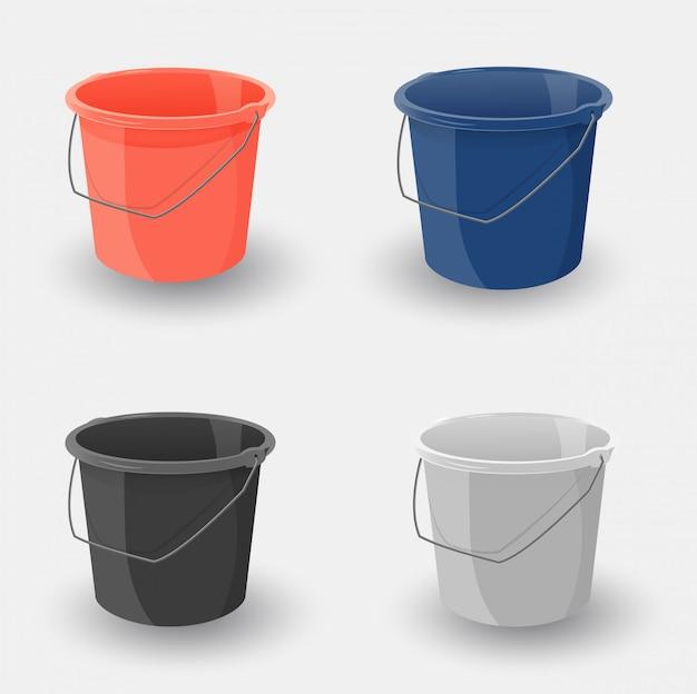 Conjunto de balde colorido. balde de plástico para jardim, casa, limpeza e água.