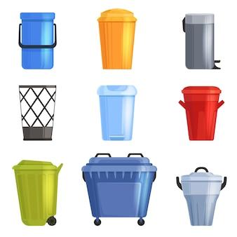 Conjunto de balde de ferro ou plástico, lata de lixo. isolado