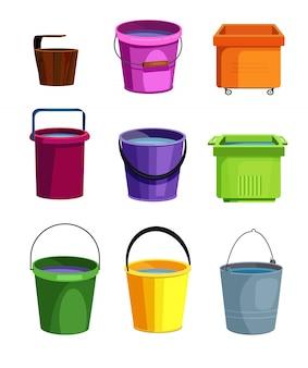 Conjunto de baldes coloridos