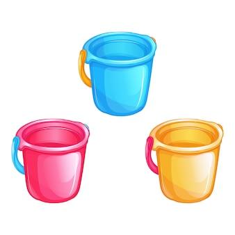 Conjunto de baldes de plástico de brinquedo infantil colorido. brinquedos para areia