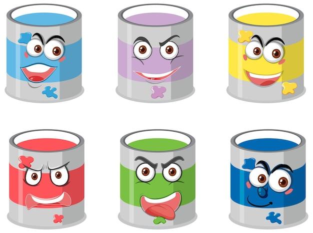 Conjunto de baldes de tinta com expressão facial isolada