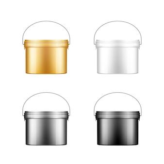 Conjunto de baldes de tinta com maquete de alça de metal para design de embalagem de plástico