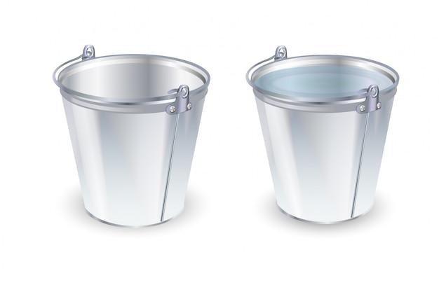 Conjunto de baldes. ilustração vetorial plana balde vazio e com água.