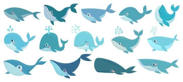 Conjunto de baleias fofas