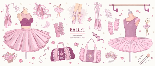 Conjunto de ballet de esboço desenhado à mão